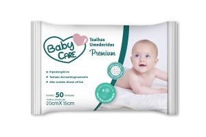 Toalhas Umedecidas Baby Care Premium com 50 unidades
