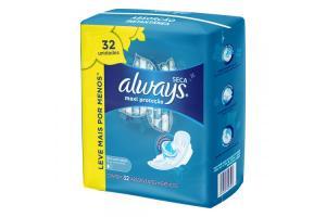 Absorvente Always Maxi Proteção Seca Dia Com Abas Com 32 Unidades
