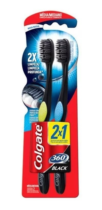 Escova Dental Colgate 360° Black 2 Unidades