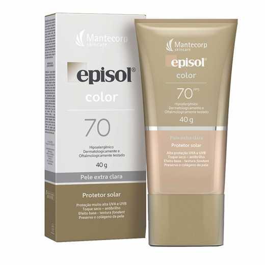 Protetor Solar Facial Episol Color FPS 70 Pele Extra Clara 40g