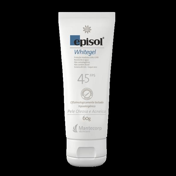 Protetor Solar Facial Episol Whitegel FPS 45 Pele Oleosa e Acneica 60g