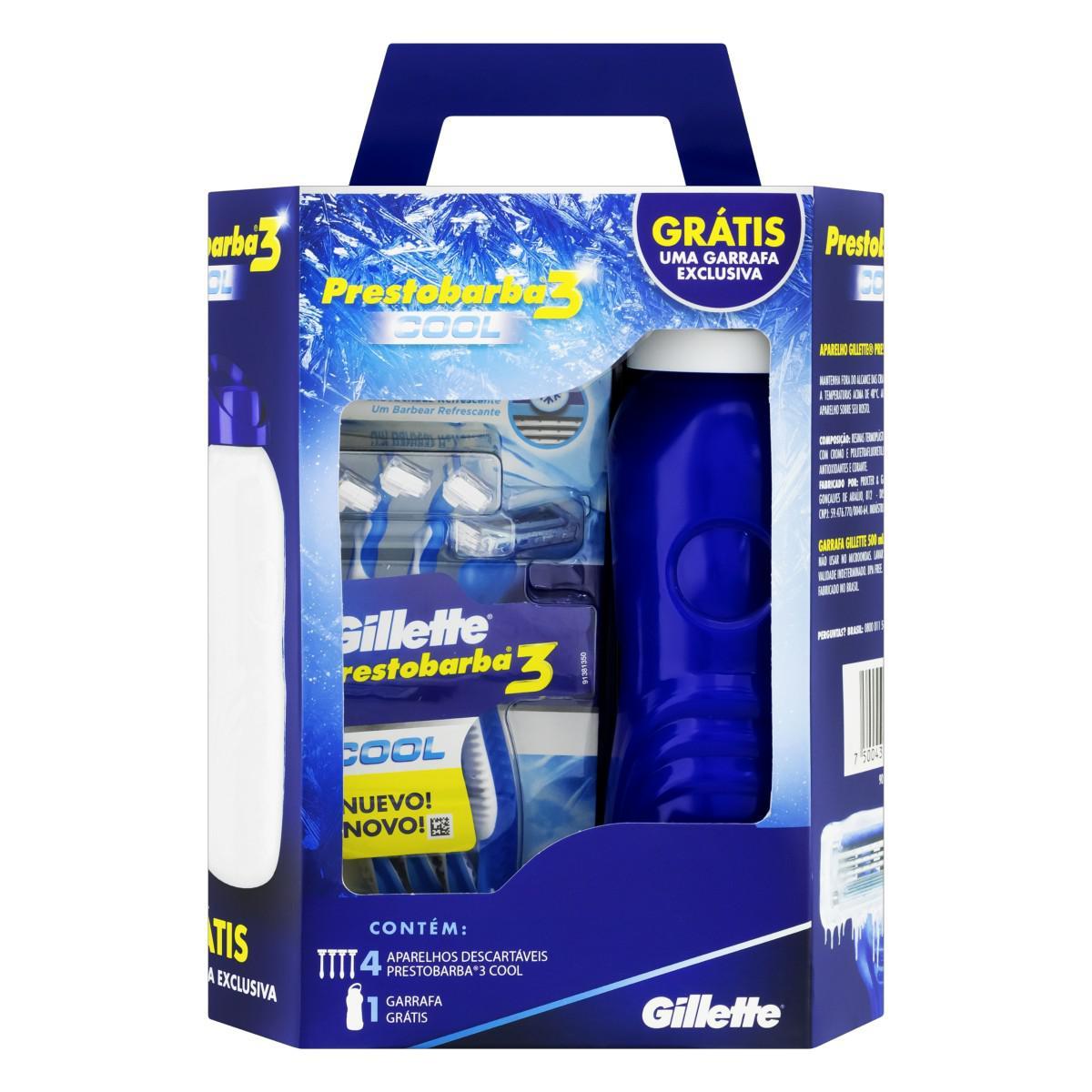 Kit Aparelho de Barbear Gillette Prestobarba 3 Cool Com 4 Unidades Grátis Garrafa