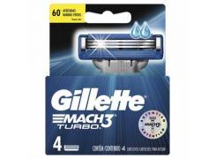 Lâminas de Barbear Gillette Mach3 Turbo Com 4 Unidades