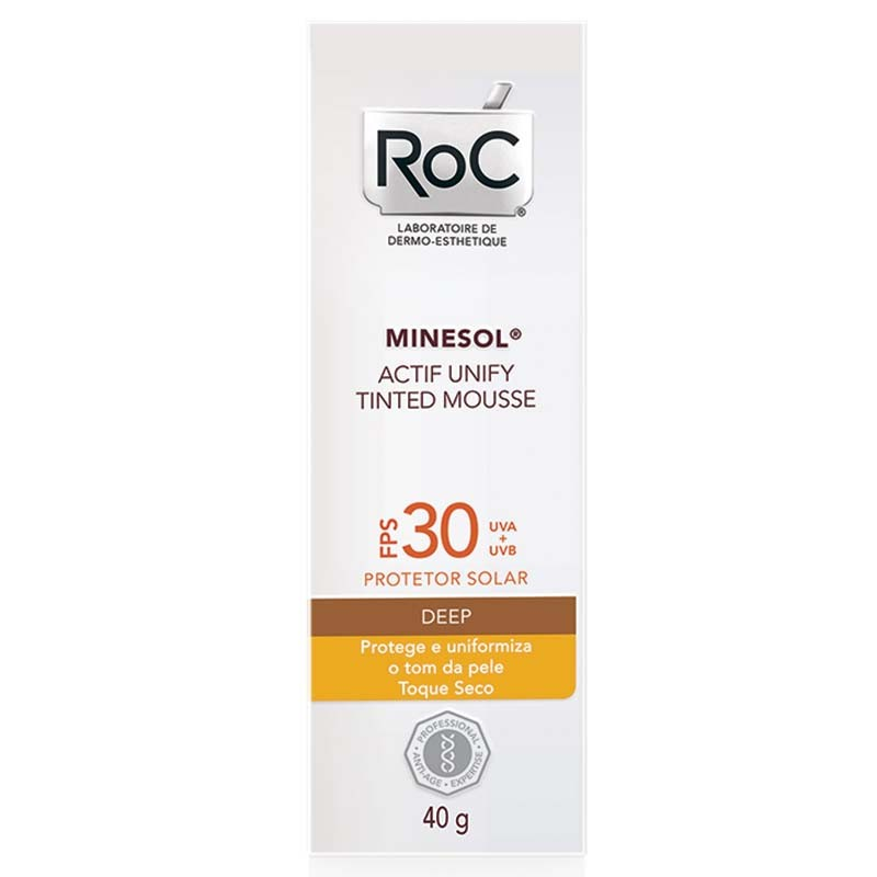 Protetor Solar Roc Minesol Actif Unify Tinted Mousse FPS 30 Deep 40g