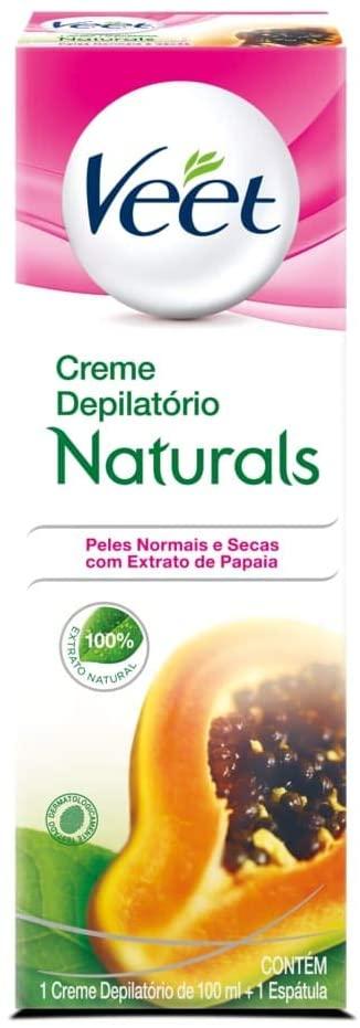 Veet Creme Depilatório Naturals Peles Normais e Secas Contém 1 Creme 100ml + 1 Espátula