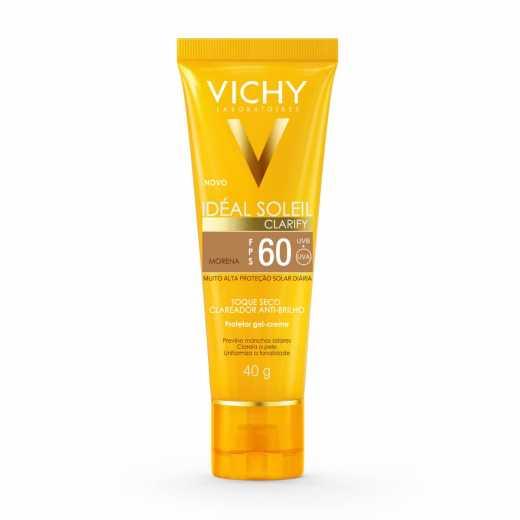 Protetor Solar Facial Vichy Idéal Soleil Clarify Cor Morena FPS 60 40g