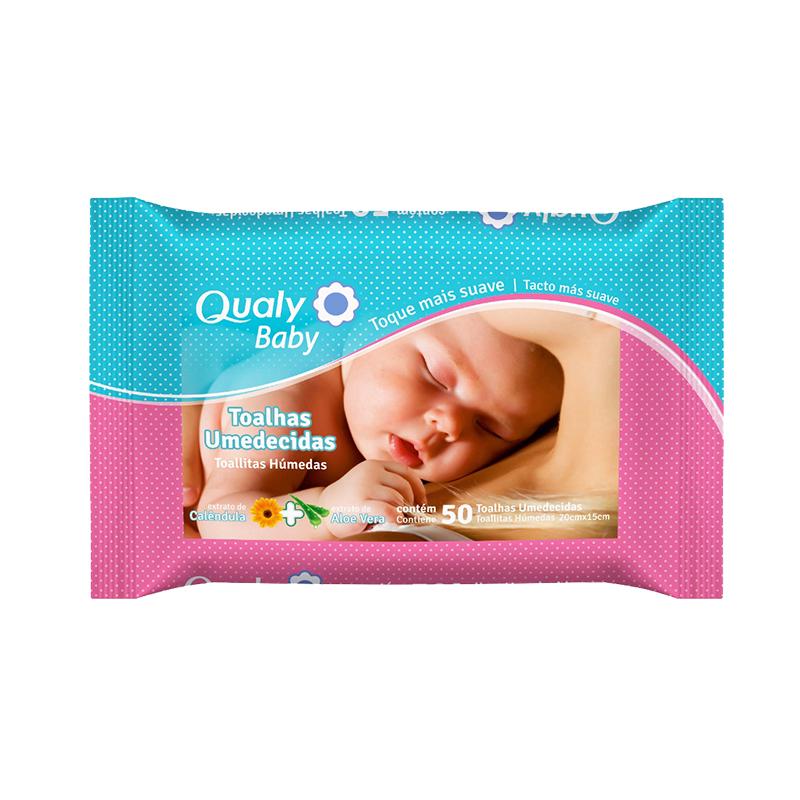 Toalhas Umedecidas Qualy Baby com 50 unidades