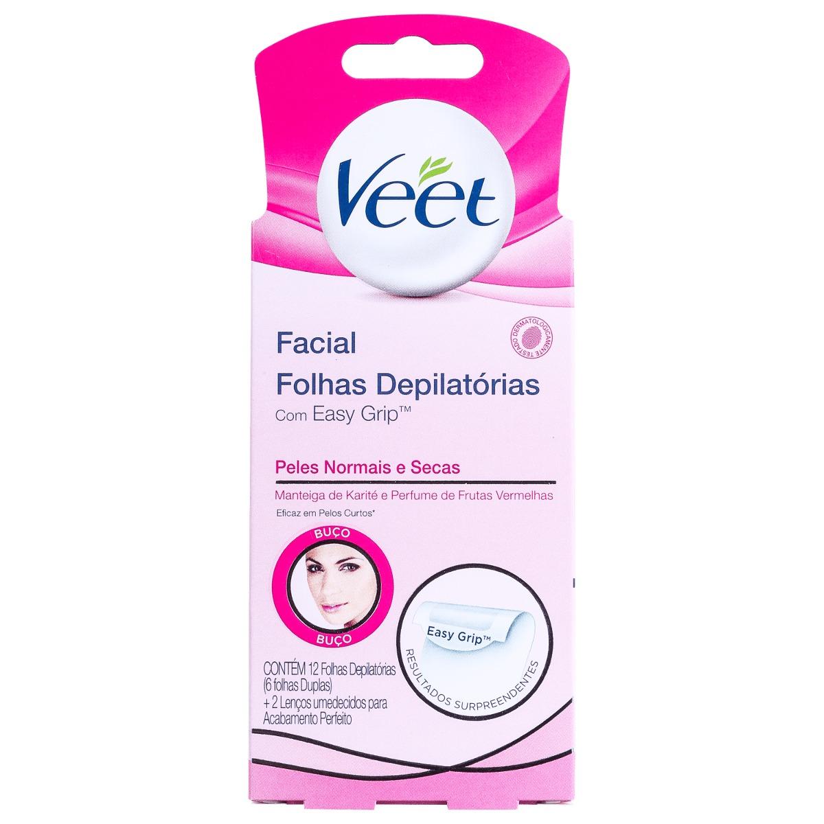 Veet Facial Folhas Depilatórias Peles Normais e Secas Com 12 Folhas