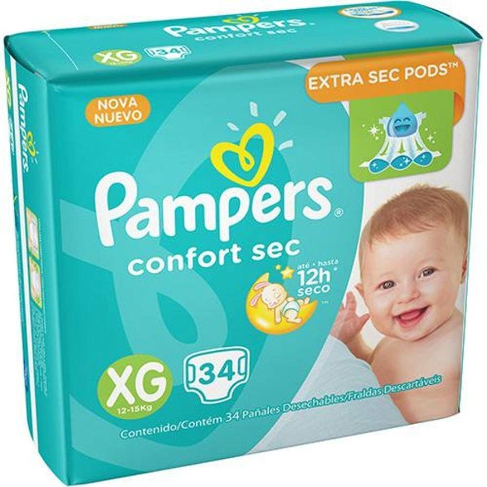 Fralda Pampers Confort Sec Tamanho XG Com 34 Unidades